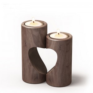 Candle Holders, Handmade Natural Wood Tea Light Candle Holders for Wedding, Party, Home, Spa, Reiki, Aromatherapy, Votive Candle Gardens (Heart-shaped Set)
