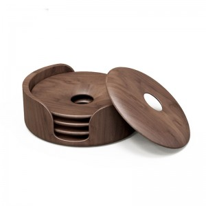 Wooden annular Coasters Set of 4 with Holder, Walnut Wood Coasters for your Drinks, Beverages & Hot tea/Coffee, 3.5 inches in diameter