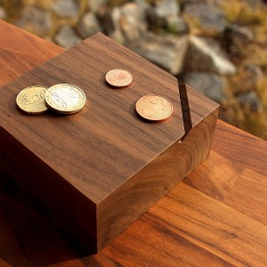 Walnut wooden Coin Banks Cuboids