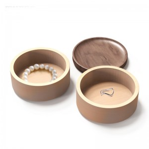 Wooden Double-layer Fitted vanity cases, Jewelry Organizer Box, Mini Cylindrical Jewelry Storage Holder with Lids, Wood Art Trinket Box for Earrings, Bracelets, Necklaces, Rings, Makeup and Accessories