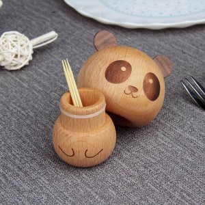 walnut beech Wooden toothpick box, creative cute panda shaped wood character, large capacity toothpick container