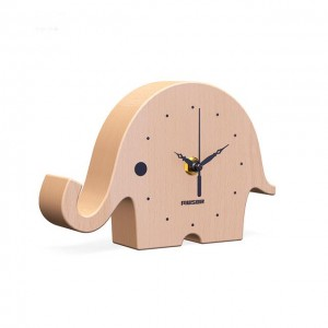Wooden Desk Clock, Small Silent Beech and Walnut Wood Table Clock, Battery Operated, Easy to set, Great Home Decorations for reading room, bedroom, offices and living room - Elephant