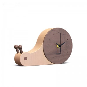 Wooden Desk Clock, Small Silent Beech and Walnut Wood Table Clock, Battery Operated, Easy to set, Great Home Decorations for reading room, bedroom, offices and living room - Snail